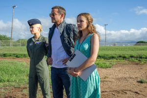 "L-r, Emma Stone, Bradley Cooper and Rachel McAdams star in Columbia Pictures' ""Aloha."""
