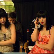 Jen and Sylvia Soska on the set of Vendetta