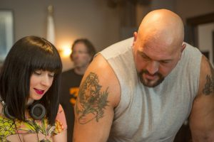 "Sylvia Soska and Paul ""Big Show"" Wight on the set of Vendetta"