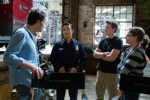 Left to right: Jason Clarke, Byung-hun Lee, Producer David Ellison, and Producer Dana Goldberg on the set of Terminator Genisys from Paramount Pictures and Skydance Productions.