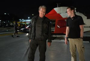 Left to right: Arnold Schwarzenegger and Producer David Ellison on set of TERMINATOR GENISYS from Paramount Pictures and Skydance Productions.