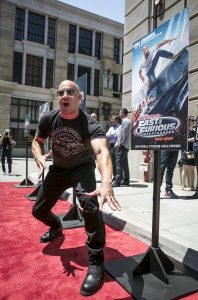 Vin Diesel at the opening of Fast and Furious Supercharged