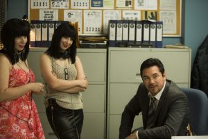 Jen and Sylvia Soska with Dean Cain on the set of Vendetta