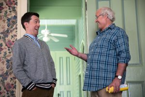 Ed Helms and Chevy Chase as Rusty and Clark Griswold