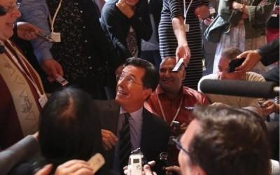 CBS exec Chris Ender took this pic of TCA reporters scrumming Stephen Colbert