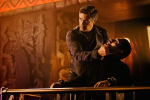 From Dusk Till Dawn: The Series, for El Rey Network and Miramax. L to R; Esai Morales as Lord Amancio Malvado and Wilmer Valderrama as Carlos Madrigal.