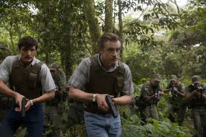 Pedro Pascal and Boyd Holbrook as Javier Pena and Steve Murphy in Netflix's original series Narcos