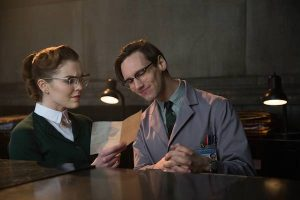 "GOTHAM: Kristin Kringle (Chelsea Spack, L) questions Edward Nygma (Cory Michael Smith, R) in the in the ""All Happy Families Are Alike"" episode of GOTHAM airing Monday, May 4 (8:00-9:00 PM ET/PT) on FOX. ©2015 Fox Broadcasting Co. Cr: Jessica Miglio/FOX"