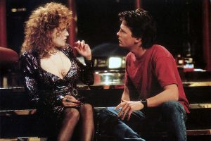 Lea Thompson and Michael J. Fox in Back to the Future Part II