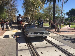 Riding a DeLorean on train tracks for Team Fox