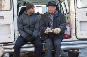 Michael B. Jordan as Adonis Creed and Sylvester Stallone as Rocky Balboa in Creed