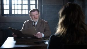 Arthur Steed (Brendan Gleeson) opposes the suffragettes