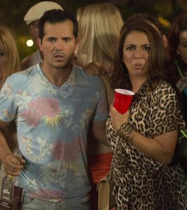 Maya Rudolph looks on in horror with John Leguizamo in Sisters