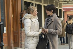 Susie Abromeit and Carrie-Anne Moss in Marvel's Jessica Jones
