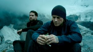 Bodhi and Johnny Utah share a moment in an extreme location