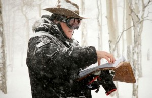 Quentin Tarantino on the set of The Hateful Eight