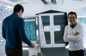 Left to right: Zachary Quinto and Director Justin Lin on the set of Star Trek Beyond from Paramount Pictures, Skydance, Bad Robot, Sneaky Shark and Perfect Storm Entertainment