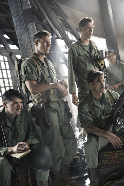 "From left to right: James Pinnick (Jacob Warner), Smitty Ryker (Luke Bracey), Andy Walker aka ""Ghoul"" (Goran Kleut), Milt Zane aka ""Hollywood"" (Luke Pegler) and Vito Rinelli (Firass Dirani) in HACKSAW RIDGE. Photo Credit: Mark Rogers"