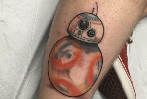 Dude Gets a STAR WARS THE FORCE AWAKENS Soccer Ball Droid Tattoo