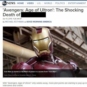 """This is epic! Disney's ABC """"Spoilers"""" Age of Ultron in headlines"""